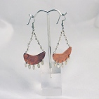 Crescent Copper and Sterling Earring