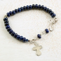 Hammered Cross with Lapis