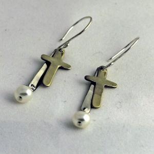 Cross with Peal Earrings