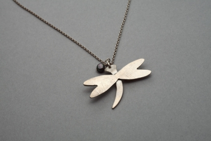 Sterling Dragonfly Necklace with freshwater pearl