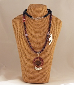 Sterling Silver, Copper and Brass with Amethyst, Garnet and Onyx beads
