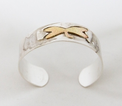 Distressed Dragonfly Cuff Sterling Silver with Brass Motif