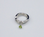 Branch Ring Sterling Silver with Peridot drop