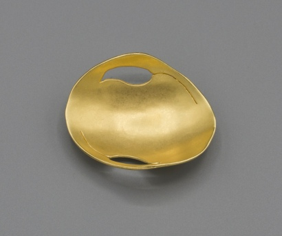 Bronze Leaf Dish with 23K gold plate