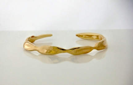 Leaf Bangle sterling silver with 23K Gold Plate